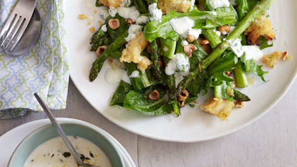 Roast asparagus, chicory and goat's cheese salad