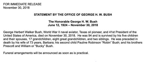 George HW Bush has died, confirmed his office, age 94.