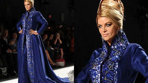 Ursula or Cruella De Vil? Kirstie Alley looks bewitching on the catwalk