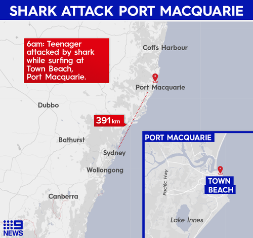 A teenage boy was attacked by a shark while surfing.