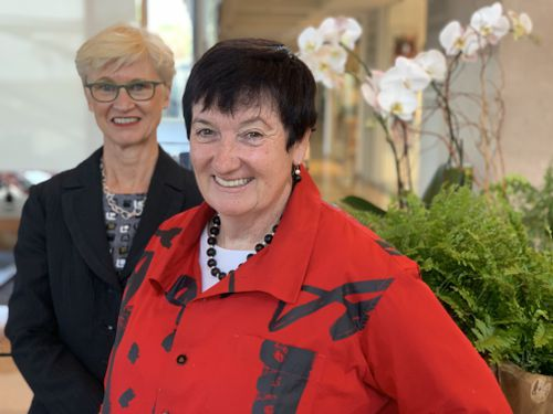 1)	Leading businesswomen Jennifer Westacott (front) and Christine Bartlett have urged Australia to change its approach to innovation.