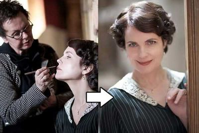 """Elizabeth McGovern (Cora Crawley) says, """"I'm wearing vintage fabric but they reinforce it — the set is hard work for costumes."""""""