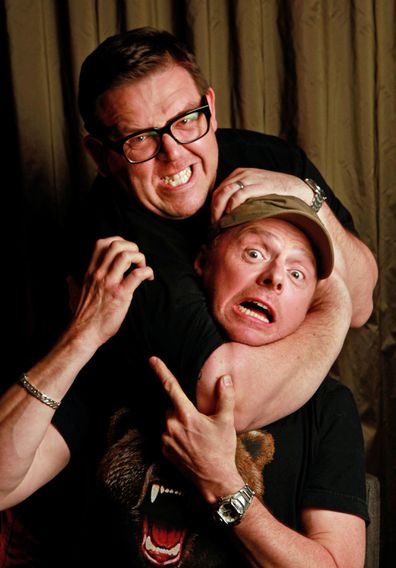 Simon Pegg (hat) and Nick Frost from the movie Paul. 7 April 2011.