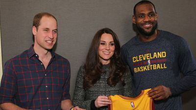 Pictured with LeBron James after the game. (AAP)