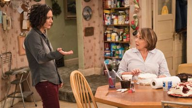 Sara Gilbert and Roseanne Barr