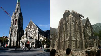 A composite image showing ChristChurch Cathedral (left) in New Zealand in 2009 and the Cathedral (right) after a 6.3 magnitude earthquake hit New Zealand's second biggest city in 2011. (AAP)