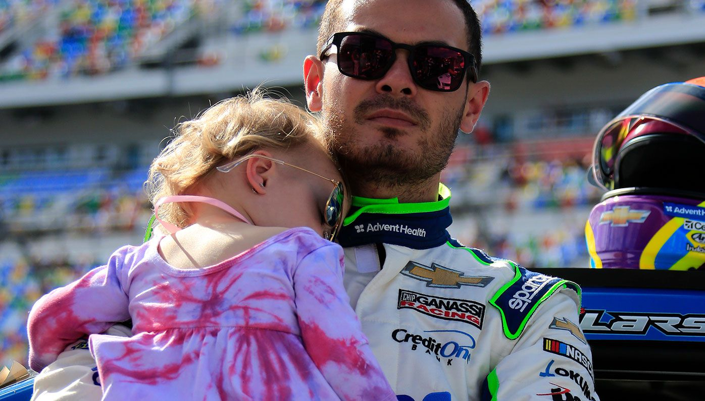 Kyle Larson with daughter Audrey at Daytona in February.