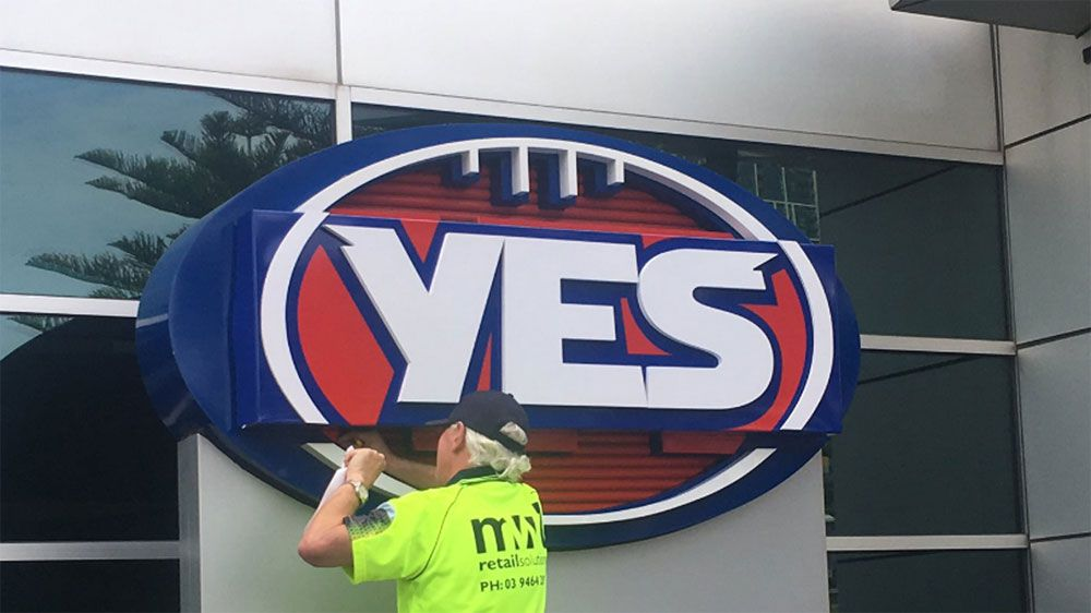"AFL news: League changes its logo to ""YES"" at the front of headquarters in support of same-sex marriage"