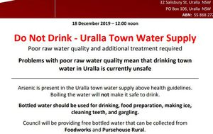 New South Wales town moves to bottled water after arsenic found in water supply
