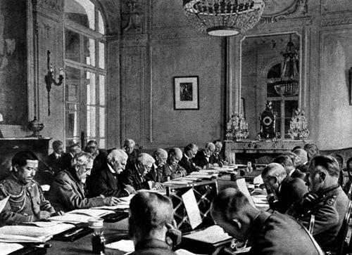 World leaders at the Treaty of Versailles in 1919. Germany was faces with harsh penalties by the Allied victors of World War I.