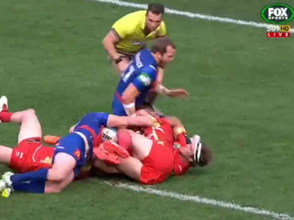 Knights awarded controversial 'double movement' try