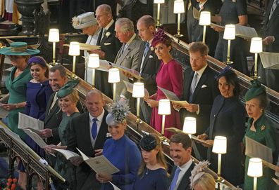 Crown Prince Pavlos of Greece (front right) attends the wedding of Princess Eugenie of York and Jack Brooksbank in St George's Chapel, Windsor Castle, near London, England, Friday Oct. 12, 2018.