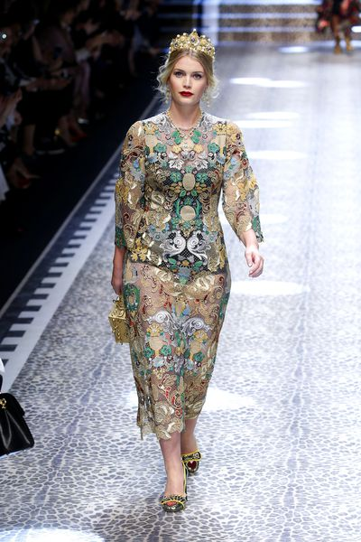 Kitty Spencer walks the runway at the Dolce & Gabbana  show during Milan Fashion Week, February, 2017.