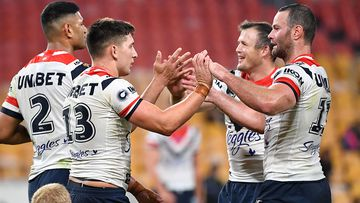 Daniel Tupou, Victor Radley, Brett Morris and Boyd Cordner of the Roosters during round 4