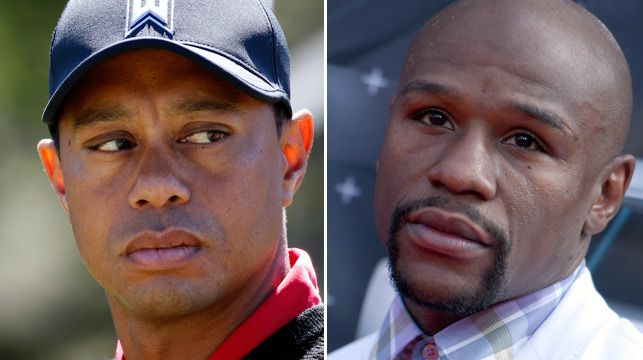 Tiger Woods (left) and Floyd Mayweather (right)