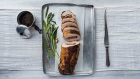 Roast turkey stuffed with pistachios, sage and currants