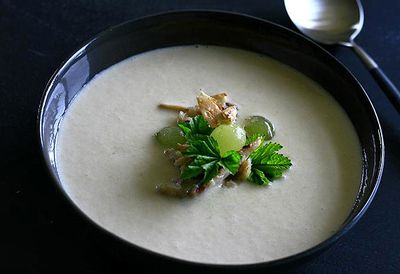 Almond gazpacho with crab