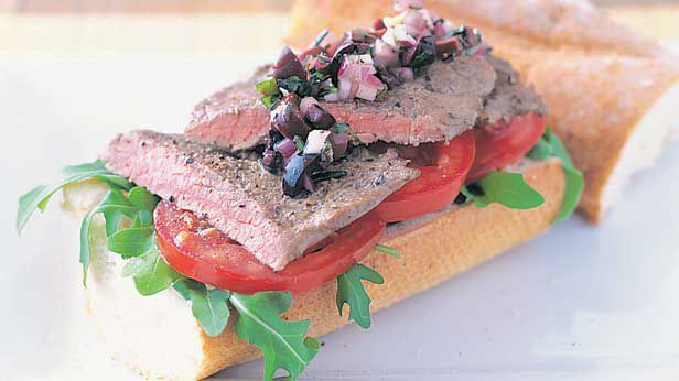 Steak sandwich with olive relish