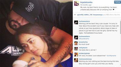 Krystal Cantu and her boyfriend two weeks after the car wreck. (Instagram)
