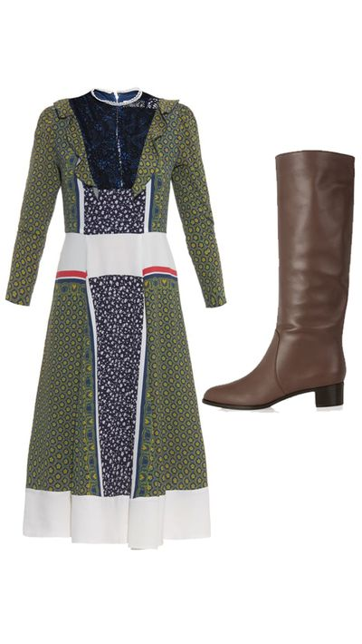 """<p>Dress: <a href=""""http://www.matchesfashion.com/au/products/Toga-Lace-insert-printed-dress-1001393#"""" target=""""_blank"""">Lace-Insert Printed Dress, $719, Toga</a></p><p>Boots: <a href=""""http://www.theoutnet.com/en-AU/product/Sergio-Rossi/Harley-leather-knee-boots/480974"""" target=""""_blank"""">Harley Leather Knee Boots, approx. $601, Sergio Rossi</a></p>"""