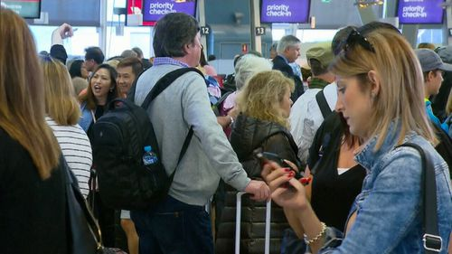 Sydney Airport was brought to a standstill this morning when a technical camera glitch sparked lengthy delays and security queues (Supplied).