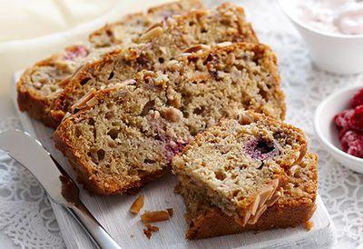 Raspberry, pear and muesli loaf