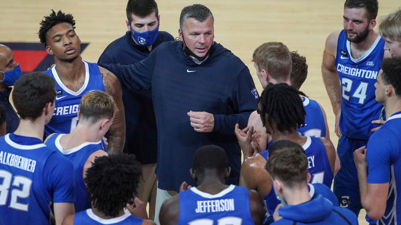 Head coach Greg McDermott of the Creighton Bluejays with his team. (Getty)