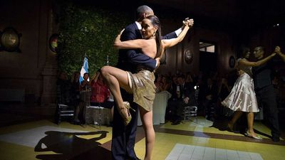 The Obamas dance with renowned tango dancers Mora Godoy and Jose Lugone in Argentina.