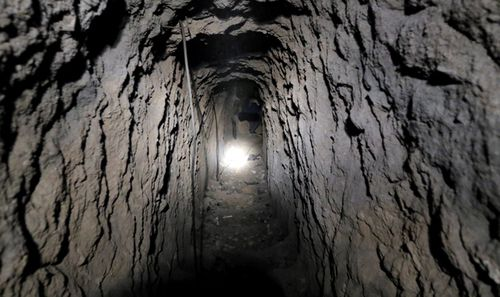 A view of an underground tunnel under the recently-captured Jobar town in the Eastern Ghouta, in the countryside of Damascus, Syria. (AAP)