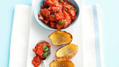 Potato skins with tomato salsa