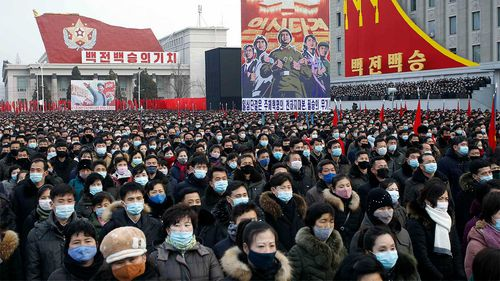 A mass rally in Pyongyang to celebrate the election of Kim Jong Un as General Secretary of the WPK.