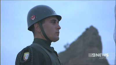 A Turkish soldier at the Gallipoli service. (9NEWS)