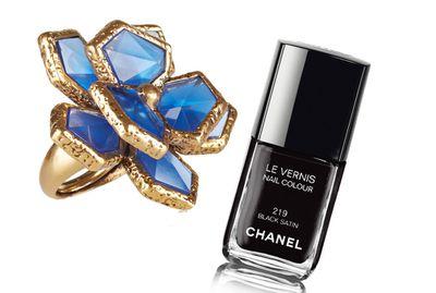 "<p><a href=""http://www.net-a-porter.com/product/572822/Oscar_de_la_Renta/gold-plated-resin-ring"" target=""_blank"">Ring, $261.92, Oscar De La Renta at net-a-porter.com</a>, and<a href=""http://shop.davidjones.com.au/djs/en/davidjones/le-vernis-nail-colour"" target=""_blank"">Le Vernis Nail Colourin Black Satin, $39, Chanel</a>.</p>"