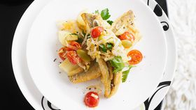 Pan-fried whiting with leek, tomato and olive salsa