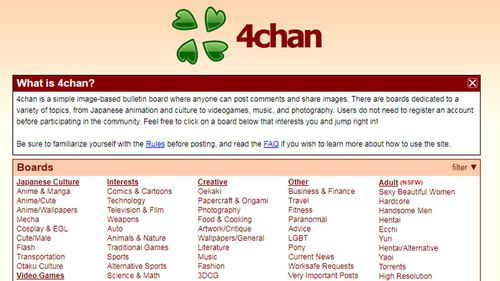 4chan is a social media board blocked by Telstra in the wake of the Christchurch attack.