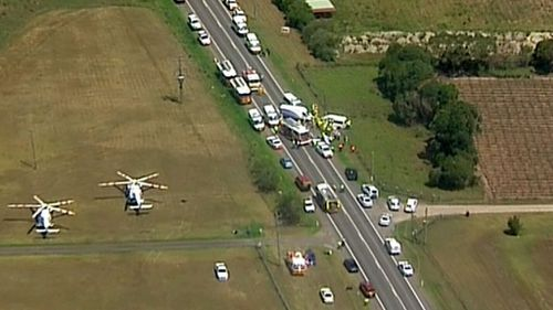 The head-on crash took place at Mamre Road at Kemps Creek yesterday. (9NEWS)