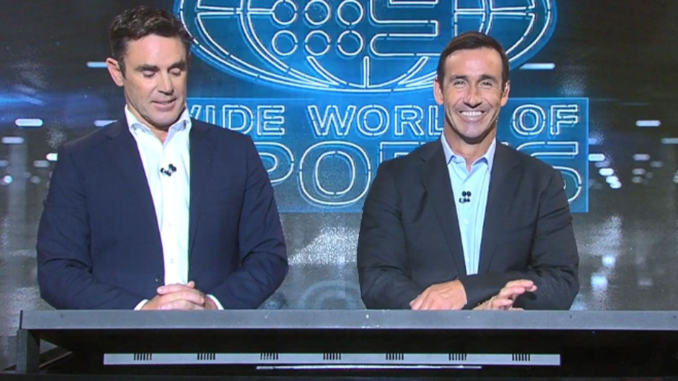 Andrew Johns reveals hilarious behind the scenes outfit during postgame show