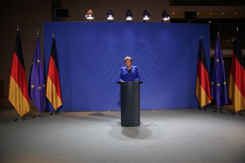 German Chancellor Angela Merkel speaks to the media following a video call she had with other leaders and heads of states of the European Union at the Chancellery on March 17.