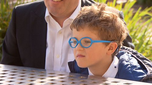 Melbourne seven-year-old Harry Feller has a rare condition called Usher's Syndrome, causing him to go slowly blind. Picture: 9NEWS