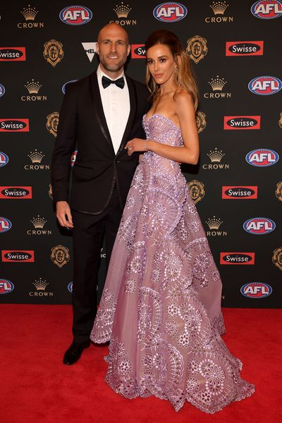 Model and TV and radio presenter presenter Bec Judd, in J'Aton, with husband, former Carlton champ Chris Judd, at the 2018 Brownlow Medal, September, 2018