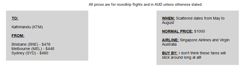 A recent email sent out by Scott's Cheap Flights.