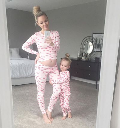 Pyjama party: lifestyle blogger Kate Weilz and daughter in matching PJ's.