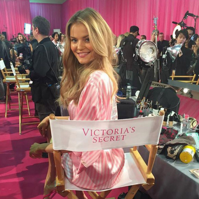 Kate Grigorieva takes her seat at the VS table for the first time. (Instagram/@_kate_g_)