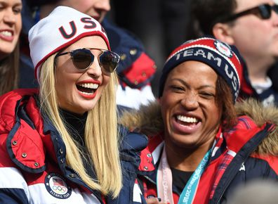 Ivanka Trump with United States women's two-man bobsled silver medalist Lauren Gibbs. Photo: AAP