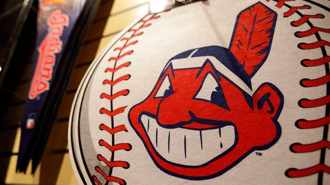 A Chief Wahoo logo is shown on a baseball at the Cleveland Indians team shop