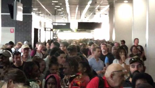 There are massive lines for passengers to be rescreened following an evacuation at Cairns Airport. Picture: Supplied