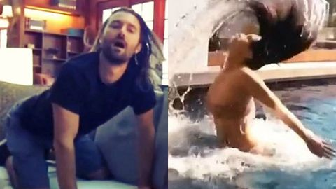 Kim K's stepbrother mocks her cringey pool hair-flip video - watch now!