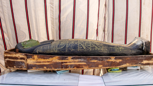 Archeologists unveiled the lost treasures on Sunday. Included in the find were ancient coffins and a four metre long papyrus, which included spells from 'The Book of the Dead'. (AP Photo/Nariman El-Mofty)