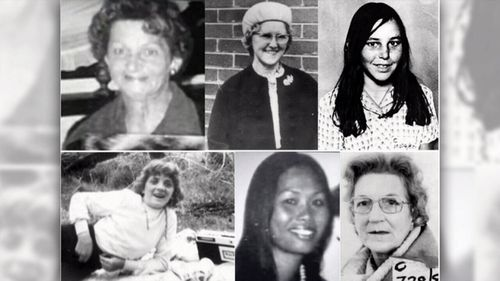 The victims of the Frankston and Tynong North murders: (Top) Allison Rooke, Bertha Miller, Catherine Headland, (Bottom) Ann-Marie Sargent, Nuramol Stephenson, Joy Summers.