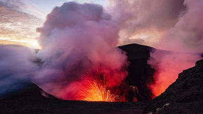 Mount Yasur Vanuatu Erupting Volcano Tanna Island